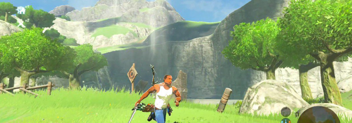 CJ e Batman em The Legend of Zelda: Breath of the Wild